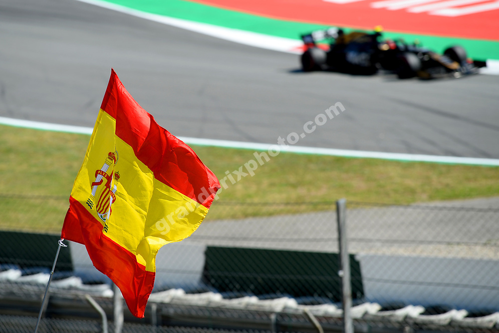 Spanish flag in front of Kevin Magnussen (Haas-Ferrari) during practice before the 2019 Spanish Grand Prix at the Circuit de Barcelona-Catalunya. Photo: Grand Prix Photo