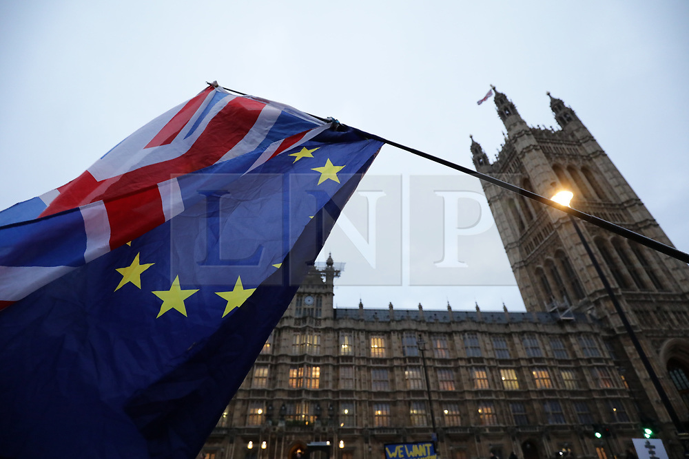 © Licensed to London News Pictures. 15/01/2019. London, UK. Anti-Brexit protesters gather opposite Parliament. MPs will vote on Prime Minister Theresa May's Brexit deal this evening. Photo credit: Rob Pinney/LNP