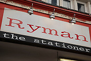 Sign for the stationary brand Ryman in Birmingham, United Kingdom.