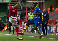 Football - 2017 / 2018 Sky Bet EFL League One - Play-Off Semi-Final, First Leg: Charlton Athletic vs. Shrewsbury Town<br /> <br /> Ezri Konsa (Charlton Athletic FC) and Omar Beckles (Shrewsbury Town FC) ompete for the loose ball at The Valley<br /> <br /> COLORSPORT/DANIEL BEARHAM