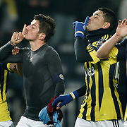 Fenerbahce's players (Left to Right) Gokhan GONUL, Emre BELEZOGLU, Andre Clarindo Dos SANTOS, Mehmet TOPUZ celebrate victory during their Turkish superleague soccer derby match Fenerbahce between Trabzonspor at the Sukru Saracaoglu stadium in Istanbul Turkey on Sunday 30 January 2011. Photo by TURKPIX