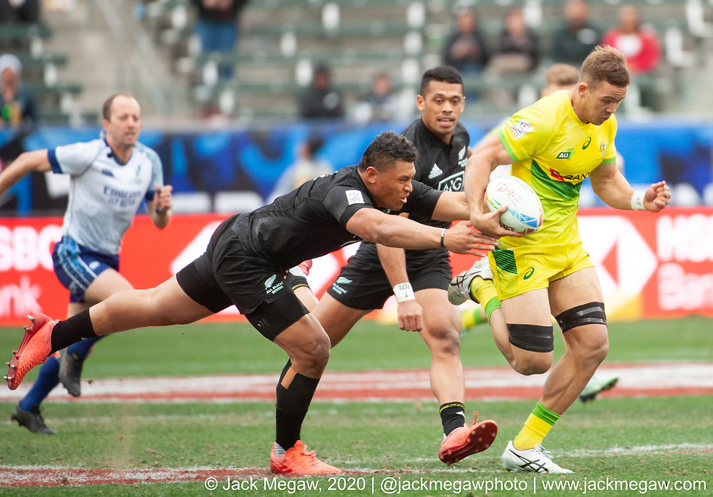 M44 - Australia and New Zealand compete in the Bronze Final of the 2020 Los Angeles Sevens at Dignity Sports Health Park in Los Angeles, California. March 1, 2019. <br /> <br /> © Jack Megaw, 2020