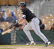GLENDALE, ARIZONA - FEBRUARY 23:  Jake Burger #91 of the Chicago White Sox bats during the game against the Los Angeles Dodgers on February 23, 2018 at Camelback Ranch in Glendale Arizona.  (Photo by Ron Vesely)  Subject:   Jake Burger