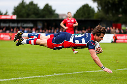 Rhodri Williams of Bristol Rugby scores his 3rd try of the gam- Rogan/JMP - 28/10/2017 - RUGBY UNION - Stade Santander International - St Peter, Jersey - Jersey Reds v Bristol Rugby - Greene King IPA Championship.