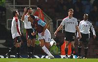 Photo: Daniel Hambury.<br />West Ham United v Fulham. The Barclays Premiership. 23/01/2006.<br />West Ham's Anton Ferdinand celebrates his goal.