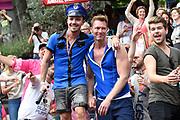 Canal Parade 2017 - De botenparade door de grachten van Amsterdam.De jaarlijkse Canal Parade is onderdeel van de Amsterdam Gay Pride, een feestelijk evenement met een LHBT karakter.<br /> <br /> Canal Parade 2017 - The boat parade through the canals of Amsterdam. The annual Canal Parade is part of the Amsterdam Gay Pride, a festive event with an LHBT character.<br /> <br /> Op de foto / On the photo:  Sipke Jan Bousema