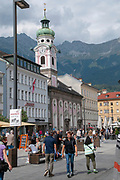 Urban pedestrian street scene Maria Theresa Street, Innsbruck, Austria,
