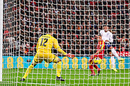 Goal England midfielder Alex Oxlade-Chamberlain scores a goal 1-0 during the UEFA European 2020 Qualifier match between England and Montenegro at Wembley Stadium, London, England on 14 November 2019.