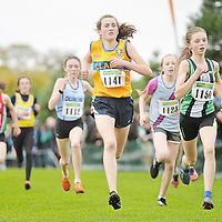 17 November 2013; Emer Hanrahan, Munster, left, and Rachel Brown, Ulster, competing in the Girls U14's race at the 2013 Woodie's DIY Inter County & Juvenile Even Age Cross Country Championships of Ireland. Santry Demesne, Santry, Co. Dublin. Picture credit: Ramsey Cardy / SPORTSFILE *** NO REPRODUCTION FEE ***