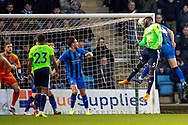 Cardiff City defender Bruno Ecuele Manga (5) heads the ball during the The FA Cup 3rd round match between Gillingham and Cardiff City at the MEMS Priestfield Stadium, Gillingham, England on 5 January 2019. Photo by Martin Cole.