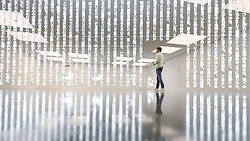 "© Licensed to London News Pictures. 06/02/2020. LONDON, UK. A staff member views ""F=O=U=N=T=A=I=N"", 2020, by Cerith Wyn Evans. Preview of ""No realm of thought... No field of vision"" by Cerith Wyn Evans at the White Cube gallery in Bermondsey.  The exhibition runs 7 February to 19 April 2020.  The show comprises installations, sculpture and painting.  Photo credit: Stephen Chung/LNP"