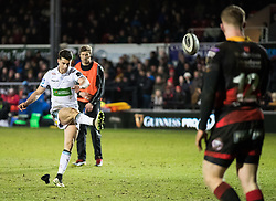 Glasgow Warriors' Adam Hastings kicks a penalty<br /> <br /> Photographer Simon King/Replay Images<br /> <br /> Guinness PRO14 Round 14 - Dragons v Glasgow Warriors - Friday 9th February 2018 - Rodney Parade - Newport<br /> <br /> World Copyright © Replay Images . All rights reserved. info@replayimages.co.uk - http://replayimages.co.uk