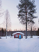 Swedish Cottage with Husky driver and dogs, Lapland.