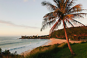 A picture on Oahu of Waimea Bay at sunset.