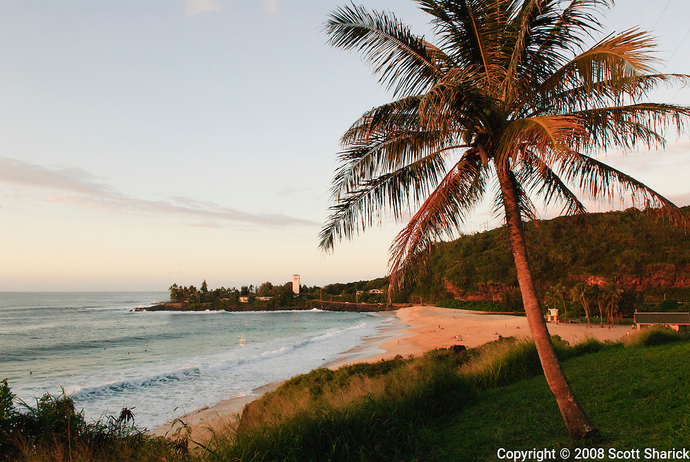 A picture on Oahu of Waimea Bay at sunset.