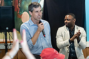 Democratic presidential hopeful Beto O'Rourke addresses supporters during a campaign stop at Gilligan's Restaurant April 13, 2019 in Summerville, South Carolina. During the event in the suburb of Charleston, Beto picked up the endorsement of South Carolina Rep. Marvin Pendarvis, right.