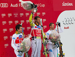 14-12-2012 SKIEN: FIS WORLDCUP SUPER G: VAL GARDENA<br /> f.l.t.r. 2nd place Matteo Marsaglia of Italy, 1st place Aksel Lund Svindal of Norway and 3th place Werner Heel of Italy celebrate on Podium of Super G of the FIS Ski Alpine Worldcup at Sasslong course<br /> ***NETHERLANDS ONLY***<br /> ©2012-FotoHoogendoorn.nl