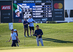 March 30, 2018 - Humble, TX, U.S. - HUMBLE, TX - MARCH 30:  Xinjun Zhang looks over his hit from the trap on 18 during Round 1 of the Houston Open on March 30, 2018 at Golf Club of Houston in Humble, Texas.  (Photo by Leslie Plaza Johnson/Icon Sportswire) (Credit Image: © Leslie Plaza Johnson/Icon SMI via ZUMA Press)