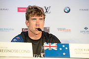 America's Cup Village, Bermuda. 8th June 2017.  Emirates Team New Zealand helmsman Peter Burling at the press conference after the team beats Land Rover BAR (GBR) 5 -2 in the Louis Vuitton America's Cup Challenger Playoff Semi-Finals.