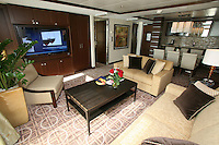 Celebrity Eclipse, the new cruise ship from Celebrity Cruises arrives in Southampton..Staterooms. Royal Suite.