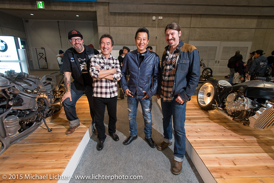 "At the BMW booth with (L>R) BMW Motorrad's Creative Director Ola Stengard, Hot Dock Customs Keiji Kawakita with his custom 2015 BMW K1600GTL ""Juggernauton"" (visible at the left side of frame,) Ken's Factory ""Ken"" Kenji Nagai with his custom 2015 BMW K1600GTL (visible at the right of frame) and BMW Vehicle Project Leader Roland Stocker at the Mooneyes Yokohama Hot Rod & Custom Show. Yokohama, Japan. December 6, 2015.  Photography ©2015 Michael Lichter."