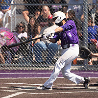 Joel Lopez hits a triple for the Miyamura Patriots Tuesday morning in Gallup.