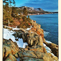 """View from Otter Cliffs in winter before sunrise, Acadia National Park, Maine. iPhone photo - suitable for print reproduction up to 8"""" x 12"""","""