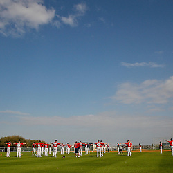 February 17, 2011; Fort Myers, FL, USA; Boston Red Sox pitchers stretch during spring training at the Player Development Complex.  Mandatory Credit: Derick E. Hingle