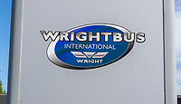 Wrightbus, Ballymena, Co Antrim, N Ireland, UK, signage, logo, September, 2019, 201909131483<br /><br />Copyright Image from Victor Patterson, Belfast, UK<br /><br />t: +44 28 9066 1296 (from Rep of Ireland 048 9066 1296)<br />m: +44 7802 353836<br /><br />victorpattersonbelfast@gmail.com<br />www.victorpatterson.com<br /><br />Please see my Terms and Conditions of Use at https://www.victorpatterson.com/page2<br />It is IMPORTANT that you familiarise yourself with them.<br /><br />Images used online incur an additional cost and must be visibly watermarked i.e. © Victor Patterson within the body of the image and copyright metadata must not be deleted. Images used on the Internet have a size restriction of 4kbs and are chargeable at rates available at victorpatterson.com.<br /><br />This image is only available for the use of the download recipient i.e. television station, newspaper, magazine, book publisher, etc, and must not be passed on to any third party. It is also downloaded on condition that each and every subsequent usage is notified within 7 days to victorpattersonbelfast@gmail.com<br /><br />The right of Victor Patterson to be identified as the author is asserted in accordance with The Copyright Designs And Patents Act (1988). All moral rights are asserted.