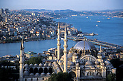 Aerial view of Istanbul city scape, with the Suleymanie Mosque ( built AD: 1550-1560) in foreground, the Golden Horn, modern Istanbul in the background and the Bosphorous river which devides Europe from Asia, Turkey.