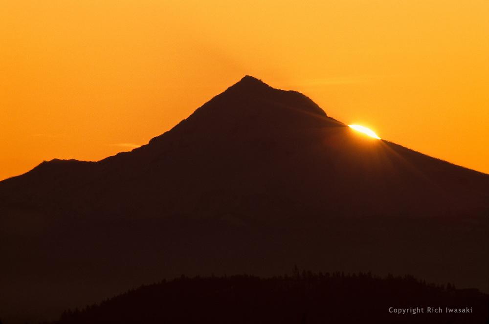 Silhouette of Mt. Hood at sunrise, Willamette valley, Oregon