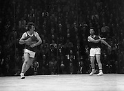 Senior Handball Final.    H24..1974..31.08.1974..08.31.1974..31st August 1974..The Senior Handball Championship final took place at Croke Park, handball, Dublin today. The final was contested between Pat Kirby of Ennis,Co Clare and Pat Murphy of Wexford. Pat Murphy in striped shirt ran as the eventual winner of the Championship..Picture is one of a series of action shots (35) taken during the game.