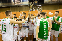 Players of Petrol Olimpija celebrate after basketball match between KK Petrol Olimpija and KK Krka Novo mesto at Superpokal 2017, on September 28, 2017 in Hala Tivoli, Ljubljana, Slovenia. Photo by Matic Klansek Velej / Sportida.com