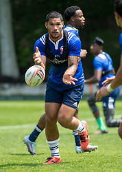 April 3, 2018 - Hong Kong, Hong Kong SAR, CHINA - HONG KONG,HONG KONG SAR,CHINA:April 3rd 2018. The USA Rugby team conduct a training session at So Kon Po recreation ground ahead of their Hong Kong Rugby 7's matches. Martin Iosefo passes the ball during drills (Credit Image: © Jayne Russell via ZUMA Wire)