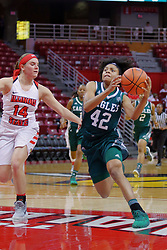 10 December 2017: Micah Robinson defended by Paige Saylor during an College Women's Basketball game between Illinois State University Redbirds and the Eagles of Eastern Michigan at Redbird Arena in Normal Illinois.