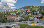 Limanowa (woj.  małopolskie) 07.05.2016. Miejska Góra, na szczycie której znajduje się wysoki krzyż, zwany Krzyżem Jubileuszowym