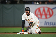 San Francisco Giants left fielder Eduardo Nunez (10) reacts to being tagged out during a stolen base attempt against the Los Angeles Dodgers at AT&T Park in San Francisco, California, on April 24, 2017. (Stan Olszewski/Special to S.F. Examiner)