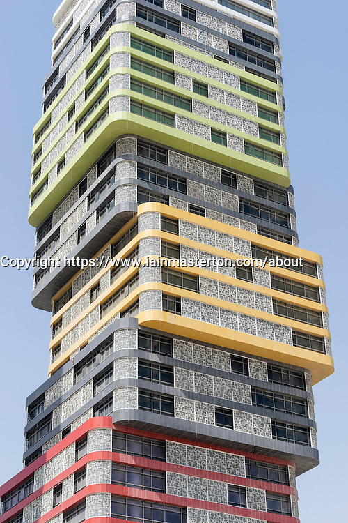 Detail of Twin Towers high-rise building under construction in Marina district in new Lusail City in Doha Qatar
