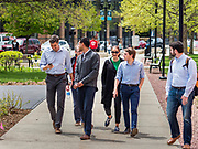 06 MAY 2019 - DES MOINES, IOWA:   BETO O'ROURKE, a Texas Democrat, far left, and his campaign workers, walk into a roundtable discussion of climate change in Des Moines Monday. O'Rouke is campaigning in Iowa to support his candidacy to be the Democratic nominee for the US Presidency in 2020.  Iowa traditionally hosts the the first election event of the presidential election cycle. The Iowa Caucuses will be on Feb. 3, 2020.                 PHOTO BY JACK KURTZ