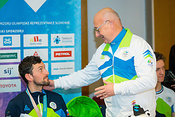 Bogdan Gabrovec and Jakov Fak during Arrival of Jakov Fak, Silver medalist at Olympic Games in Pyeongchang 2018, on February 25, 2018 in Aerodrom Ljubljana, Letalisce Jozeta Pucnika, Kranj, Slovenia. Photo by Ziga Zupan / Sportida