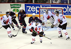 Dan Hamhuis of Canada (in the middle) at ice-hockey match USA vs Canada at IIHF WC 2008 in Halifax,  on May 02, 2008 in Metro Center, Halifax, Nova Scotia,Canada. USA won 4:0. (Photo by Vid Ponikvar / Sportal Images)