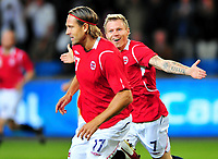 Fotball Landskamp Norge vs Makedonia<br /> VM Kvalifisering 09.09.2009 Ullevaal Stadion Oslo<br /> <br /> Norway vs FYR Macedonia  <br /> <br /> Resultat 2 - 1<br /> <br /> Foto: Robert Christensen Digitalsport<br /> <br /> Norge Målscorer Thorstein Helstad jubler mindre enn Bjørn Helge Riise