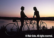 Bicycling, Pennsylvania, Outdoor recreation, Biking in PA Youth Biking at Sunset, Susquehanna River, Harrisburg, PA, Couples Romance Bicycling