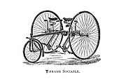 T-Frame Sociable tandem tricycle  From Wheels and Wheeling; An indispensable handbook for cyclists, with over two hundred illustrations by Porter, Luther Henry. Published in Boston in  1892