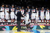 United State´s captain Harden receives from Spain´s king Felipe VI the FIBA Basketball World Cup Spain 2014 final award after winning against Serbia at `Palacio de los deportes´ stadium in Madrid, Spain. September 14, 2014. (ALTERPHOTOSVictor Blanco)