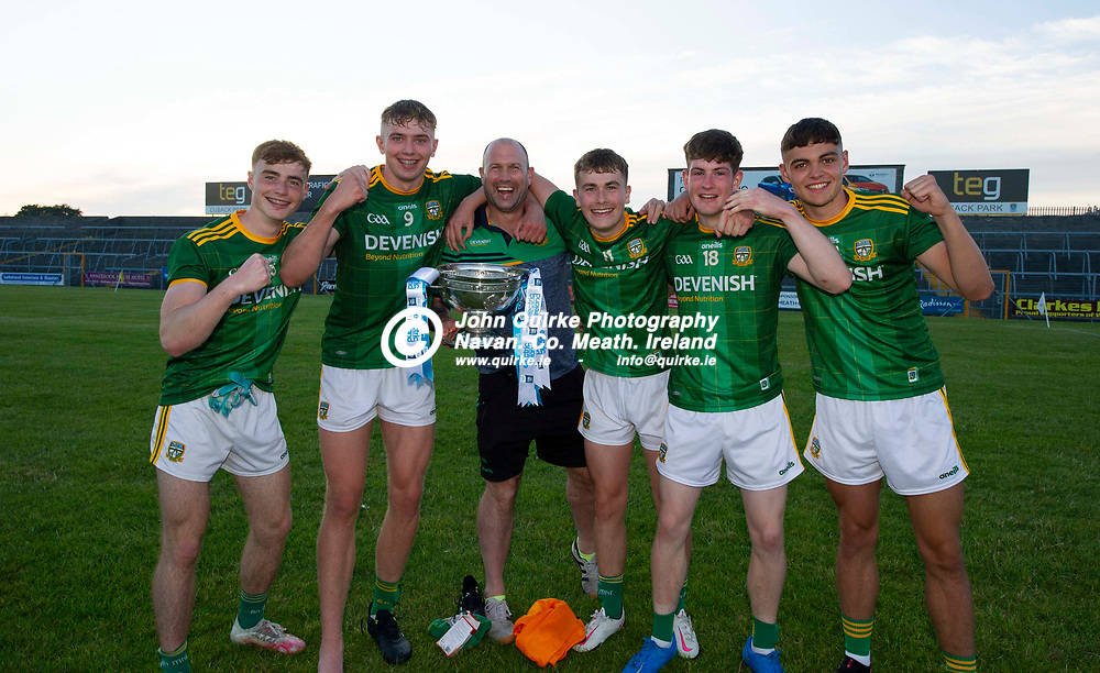 30-06-21. Meath v Offaly - Leinster MFC Final 2020 at TEG Cusack Park, Mullingar.<br /> Meath selector Paul Nestor celebration with from left, Joe McDonagh, Conor Gray, Ruairi Kinsella, Aaron Murphy and Fursey Blake all Dunshaughlin.<br /> Photo: John Quirke / www.quirke.ie<br /> ©John Quirke Photography, 16 Proudstown Road, Navan. Co. Meath. (info@quirke.ie / 046-9028461 / 087-2579454).