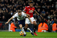Luis Antonio Valencia of Manchester United (R) fouls Harry Kane of Tottenham Hotspur (L). Premier league match, Tottenham Hotspur v Manchester Utd at Wembley Stadium in London on Wednesday 31st January 2018.<br /> pic by Steffan Bowen, Andrew Orchard sports photography.