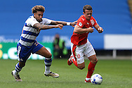 Jonathan Hogg of Huddersfield Town goes past Daniel Williams of Reading (l). EFL Skybet  championship match, Reading  v Huddersfield Town at The Madejski Stadium in Reading, Berkshire on Saturday 24th September 2016.<br /> pic by John Patrick Fletcher, Andrew Orchard sports photography.