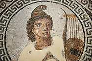 Picture of a Roman mosaics design depicting Orpheus, god of music, playing his lyre,  from the ancient Roman city of Thysdrus, Bir Zid area. 2nd century AD. El Djem Archaeological Museum, El Djem, Tunisia. .<br /> <br /> If you prefer to buy from our ALAMY PHOTO LIBRARY Collection visit : https://www.alamy.com/portfolio/paul-williams-funkystock/roman-mosaic.html . Type - El Djem - into the LOWER SEARCH WITHIN GALLERY box. Refine search by adding background colour, place, museum etc<br /> <br /> Visit our ROMAN MOSAIC PHOTO COLLECTIONS for more photos to download as wall art prints https://funkystock.photoshelter.com/gallery-collection/Roman-Mosaics-Art-Pictures-Images/C0000LcfNel7FpLI