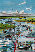 Towing vessels up the Hooghly River to port of Calcutta (Kolkata). Chromolithograph 1901